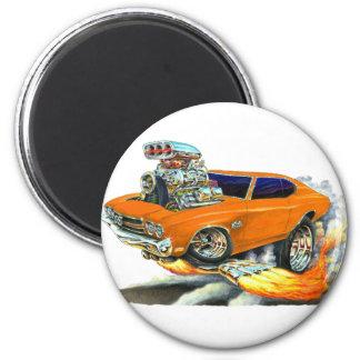 Coche 1970 del naranja de Chevelle Imán Redondo 5 Cm
