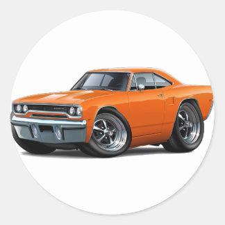 Coche 1970 del naranja del Roadrunner Pegatina Redonda