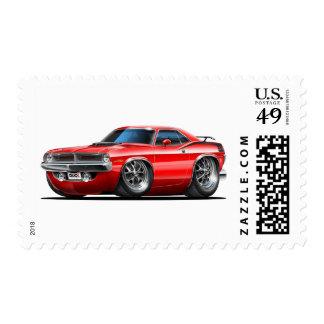 Coche 1970 del rojo de Plymouth Cuda Sellos