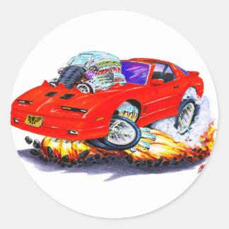 Coche 1982-92 del rojo del transporte pegatina redonda