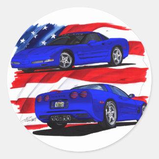Coche 1999-04 del azul del Corvette Pegatina Redonda