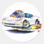 Coche 2005-10 del blanco del Corvette Pegatina Redonda