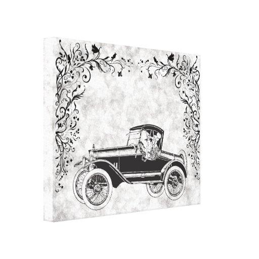 Coche 2 del vintage impresión en lona estirada