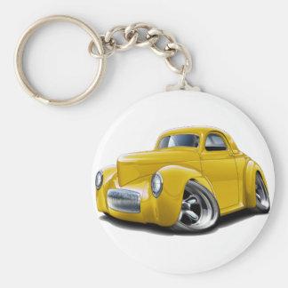 Coche amarillo 1941 de Willys Llavero Redondo Tipo Pin