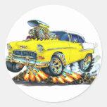 Coche amarillo 1955 de Chevy Belair Pegatinas Redondas