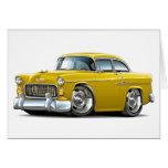 Coche amarillo 1955 de Chevy Belair Tarjeta De Felicitación