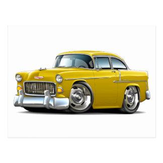 Coche amarillo 1955 de Chevy Belair Postales
