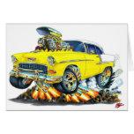 Coche amarillo 1955 de Chevy Belair Tarjetón