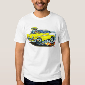 Coche amarillo 1956 de Chevy 150-210 Remeras