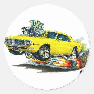 Coche amarillo 1967-68 de Firebird Pegatina Redonda