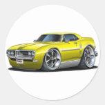 Coche amarillo 1968 de Firebird Etiqueta Redonda