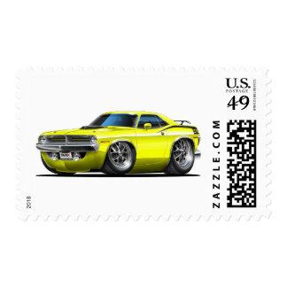 Coche amarillo 1970 de Plymouth Cuda Sello