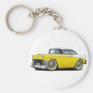 Coche Amarillo-Blanco 1956 de Chevy Belair Llavero Redondo Tipo Pin