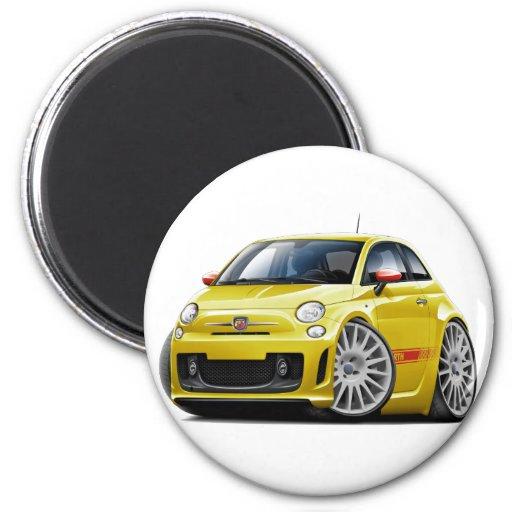Coche amarillo de Fiat 500 Abarth Imanes De Nevera