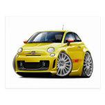 Coche amarillo de Fiat 500 Abarth Tarjetas Postales