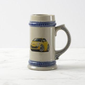 Coche amarillo de Fiat 500 Tazas
