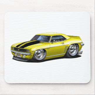Coche Amarillo-Negro 1969 de Camaro Tapetes De Ratón