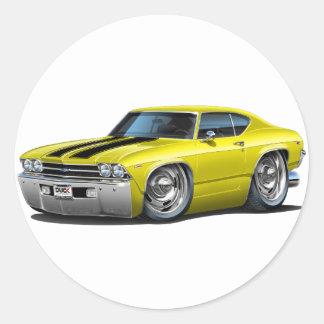Coche Amarillo-Negro 1969 de Chevelle Etiqueta