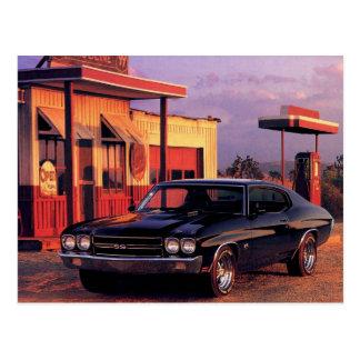 Coche americano retro del músculo tarjeta postal