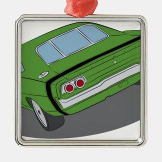 Coche americano verde del músculo adornos de navidad