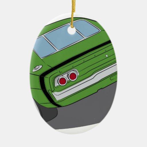Coche americano verde del músculo ornamente de reyes