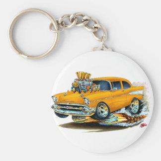 Coche anaranjado 1957 de Chevy 150-210 Llavero