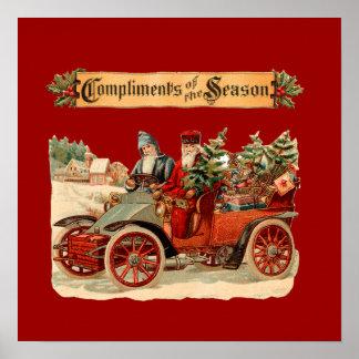 Coche antiguo del navidad del vintage póster