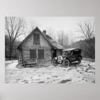 Coche antiguo en el parque de Rock Creek, los años Poster