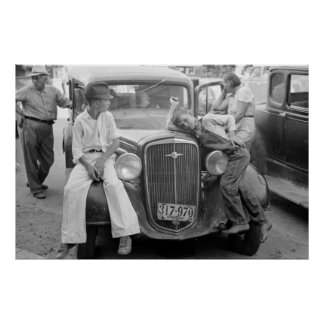 Coche antiguo, familia de la Gran Depresión, los a Póster