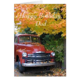 Coche antiguo, feliz cumpleaños, papá tarjeta