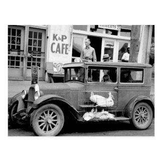 Coche antiguo, los años 30 postales