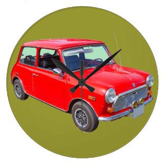 Coche antiguo rojo de Mini Cooper Relojes De Pared