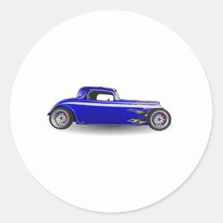 Coche antiguo viejo del coche de carreras etiquetas redondas