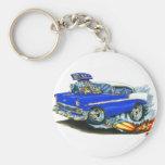 Coche azul 1956 de Chevy 150-210 Llavero Personalizado