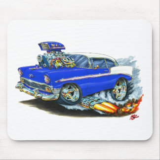 Coche azul 1956 de Chevy 150-210 Tapetes De Ratones