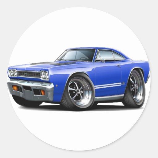 Coche Azul-Blanco 1968 de Plymouth GTX Pegatina Redonda