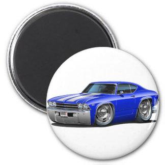 Coche Azul-Blanco 1969 de Chevelle Imán Redondo 5 Cm