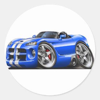 Coche Azul-Blanco del automóvil descubierto de la Pegatinas Redondas