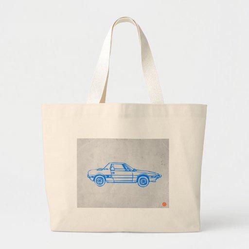 Coche azul bolsas lienzo