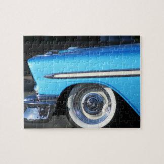 Coche azul clásico puzzles con fotos