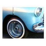 Coche azul clásico tarjetas postales