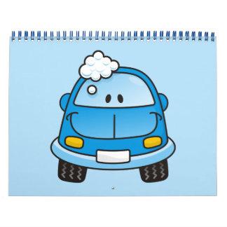 Coche azul con las burbujas calendarios de pared