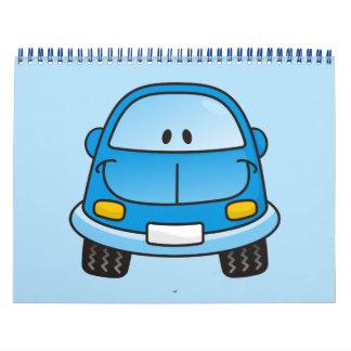 Coche azul del dibujo animado calendarios de pared