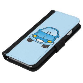 Coche azul del dibujo animado funda cartera para iPhone 6