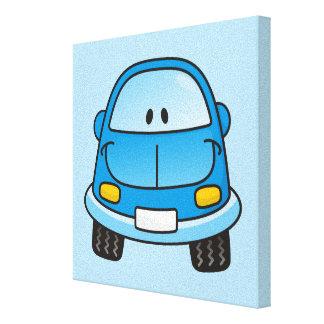 Coche azul del dibujo animado lienzo envuelto para galerías