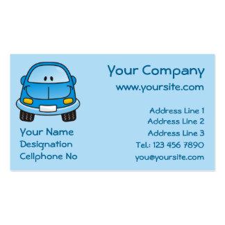 Coche azul del dibujo animado tarjetas de visita