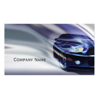 Coche azul del mustango en la tarjeta del movimien plantillas de tarjeta de negocio