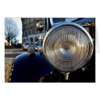 Coche azul del vintage felicitacion
