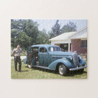 coche azul grande de la obra clásica del vintage rompecabezas con fotos