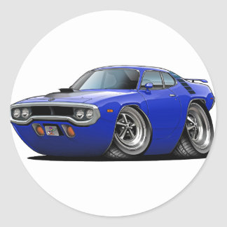 Coche Azul-Negro 1971-72 del Roadrunner Pegatina Redonda